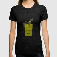 life is a glass of juice, drink it! Womens Fitted Tee Tri-Black SMALL