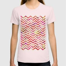 FLORAL CHEVRON Womens Fitted Tee Light Pink SMALL