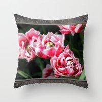 Double Late Peony-Flowered Tulip named Horizon Throw Pillow