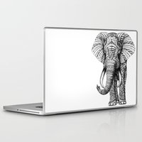 pop art Laptop & iPad Skins featuring Ornate Elephant by BIOWORKZ
