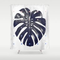 Monstera + Dots Shower Curtain