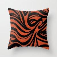Orange & Black Waves Throw Pillow
