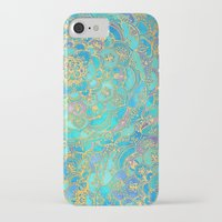 christmas iPhone & iPod Cases featuring Sapphire & Jade Stained Glass Mandalas by micklyn