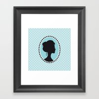 Blue cameo Framed Art Print