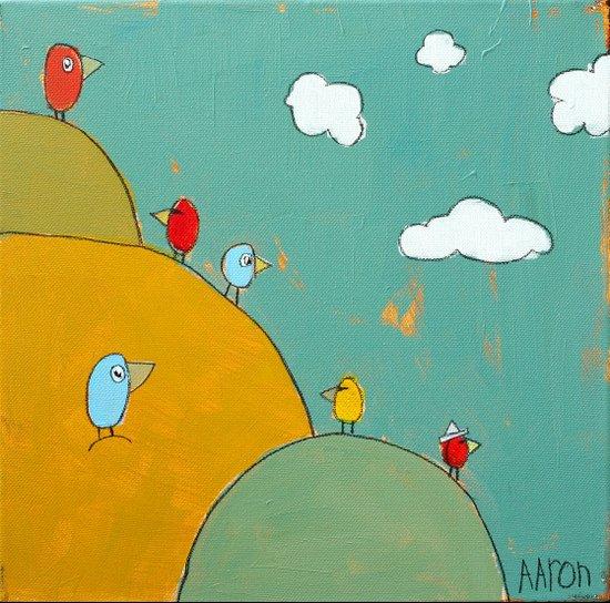 Birds In The Bushes Art Print