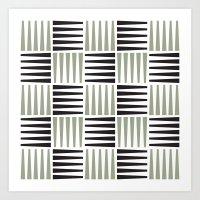B/W crosshatch pattern Art Print
