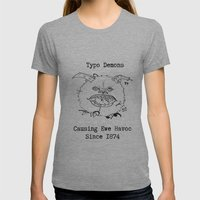 Typo Demons Womens Fitted Tee Athletic Grey SMALL