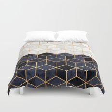 White & Navy Cubes Duvet Cover