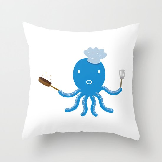 Octopus shef Throw Pillow