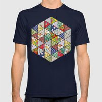 Geometric Floral Quilt Mens Fitted Tee Navy SMALL