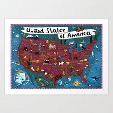 Map of USA Art Print