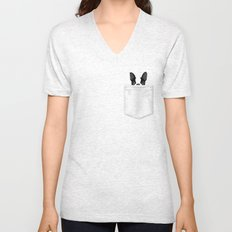Pocket Boston Terrier Unisex V-Neck