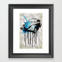 VW Beetle Drip Framed Art Print