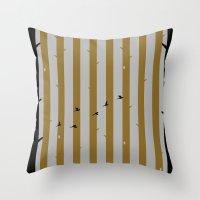 Gold Deer Song Throw Pillow