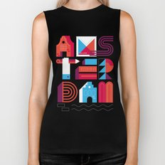 Postcards from Amsterdam / Typography Biker Tank