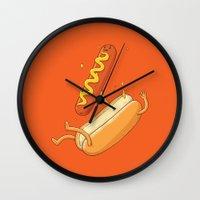 Hotdog Fall Wall Clock