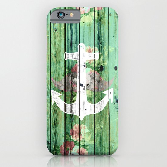 Vintage Floral Nautical Anchor Green Beach Wood iPhone & iPod Case