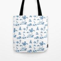 Blue Toile Unicorn Tote Bag