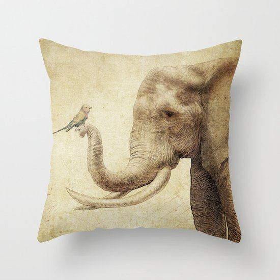 A New Friend (sepia drawing) Throw Pillow