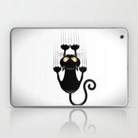 Black Cat Cartoon Scratching Wall Laptop & iPad Skin