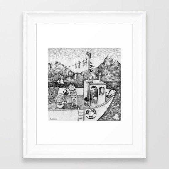Fox on Fishing-boat Framed Art Print