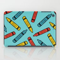 Crayons On Blue Pattern iPad Case