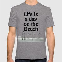 Beach Life Mens Fitted Tee Tri-Grey SMALL