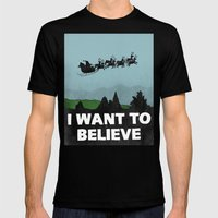 I Want To Believe (in Santa) Mens Fitted Tee Black SMALL