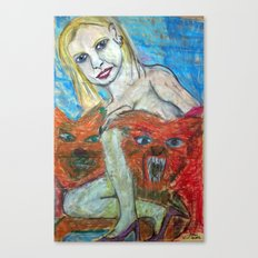 GIRL WITH HOUNDS OF HELL Canvas Print