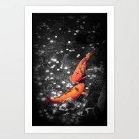 Lucky Koi Fountain Art Print