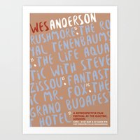 wes anderson Art Prints featuring Wes Anderson - The Royal Tenenbnums by Laura Mace Design
