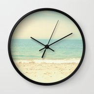 Wall Clock featuring Pale Blue Retro Beach  by AC Photography