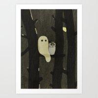Little Ghost & Owl Art Print
