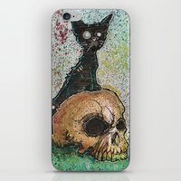 Black Cat with a Skull iPhone & iPod Skin