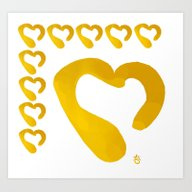 Gold Hearts On White - L… Art Print