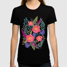 Romantic Blossom, flower print, floral print Womens Fitted Tee Black SMALL