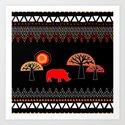 African Rhino (Hot colors) Art Print