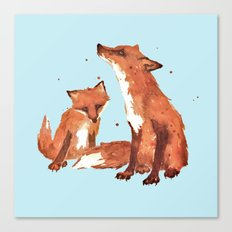 Blue Foxes, Cute fox art, nursery foxes, nursery decor, cool brother foxes, fox pillows Canvas Print
