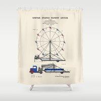 Ferris Wheel Patent Shower Curtain