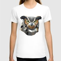 Geometric Owl Womens Fitted Tee White SMALL