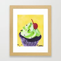Green Cupcake Framed Art Print