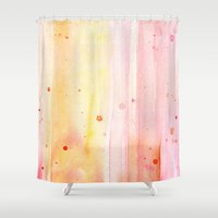 Pink Rain Watercolor Texture Shower Curtain