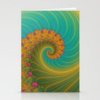 Vortex on Poppy Row in Orange and Turquoise Stationery Cards