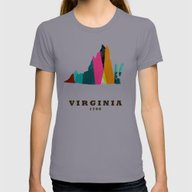 Virginia State Map Moder… Womens Fitted Tee Slate LARGE