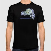 Billowing Blush in Blue Mens Fitted Tee Black SMALL