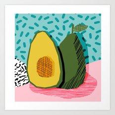 Choice - wacka memphis throwback retro neon fruit avocado vegetable vegan vegetarian art decor Art Print