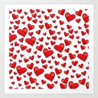 Hearts Motif Art Print