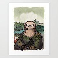 The Mona Sloth  Art Print