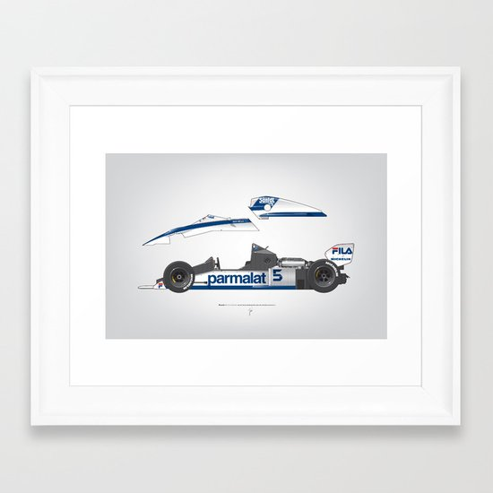 Outline Series N.º6, Nelson Piquet, Brabham BT-52 BMW, 1983 Framed Art Print