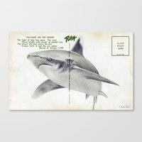 Postcard Shark Canvas Print
